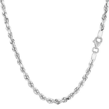 """10K White Gold Hollow Rope Chain Necklace, 3mm, 20"""""""