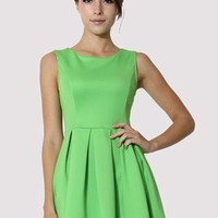 Green Sleeveless Pleated Skater Dress  S009601