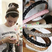 Women Girls Bling Rhinestone Crystal Headband Hair Band Head Piece Chain Jewelry