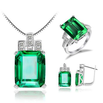 JewelryPalace Created Emerald Blue Sapphire Red Ruby Jewelry Sets 925 Sterling Silver Ring Pendant Necklace Jewelry