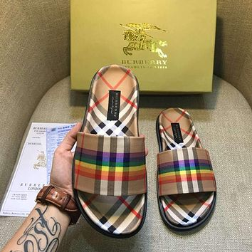 Burberry Rainbow Series Classic Popular Women Beach Slipper Sandals Shoes I-AHD-HNXG-ZD