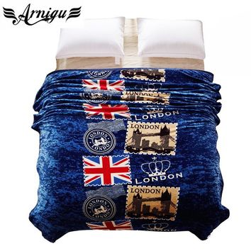 Cool British style Blue print Blanket Ferrets cashmere soft winter bedding/sofa Throws warm bedsheet Twin Full Queen King size plaidsAT_93_12