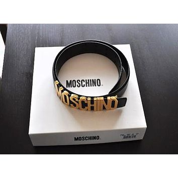 MOSCHINO Classic Popular Women Men Letter Wide Belt Candy Color Leather Belt Black I/A