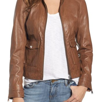 LAMARQUE Patch Pocket Leather Biker Jacket | Nordstrom