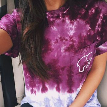 LMFOK3 Cute Ladies Womens Tie Dye Gradient Elephant T Shirt