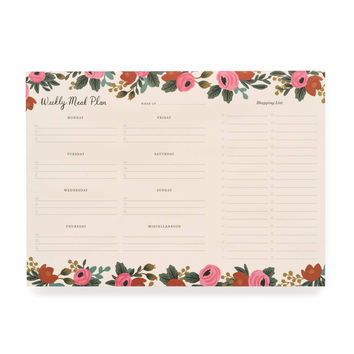 RIFLE PAPER ROSA WEEKLY MEAL PLANNER EVERYDAY NOTEPAD