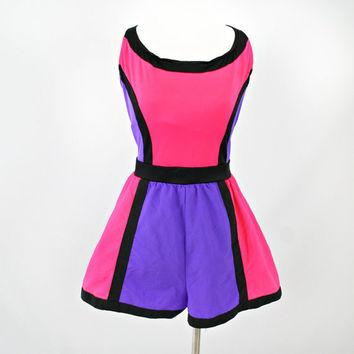 vintage 90s vibrant NEON COLORBLOCK playsuit/swimsuit size 16/18