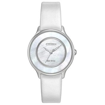 Citizen L Circle of Time Womens Watch - White Strap - MOP Dial - Stainless Steel
