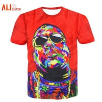 Biggie Smalls T SHIRT Red Tie Dye Graphic T-shirt Fashion
