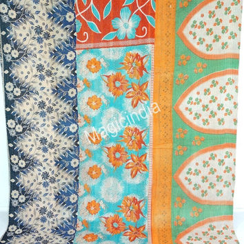 Reversible Kantha Quilt Vintage Kantha Throw Indian Sari Blanket Handmade Kantha Ralli, Indian Sari Quilt