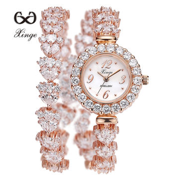 Xinge Brand 30M Waterproof Luxury Gold Zircon Wrist Watch Women Dress Bracelet Ladies Fashion Shell Watches XG1044