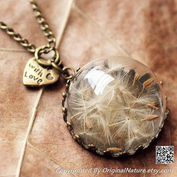 Nature Inspired Jewelry Real Dandelion Necklace Pendant Gift (HM0069-BRONZE)