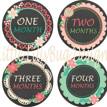 Baby Month Stickers Baby Monthly Stickers Girl Monthly Shirt Stickers Chalkboard Lace Coral Shower Gift Photo Prop Baby Milestone Sticker