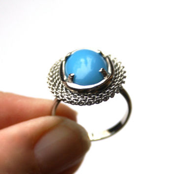 Turquoise Ring Oval Glass Adjustable Vintage Silver Tone Mesh