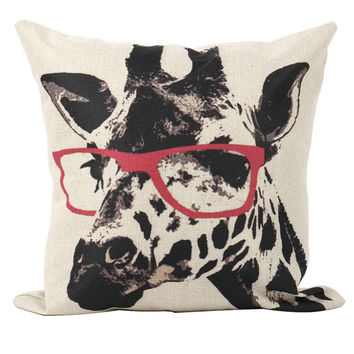1pc Cute Glasses Giraffe Print Design Sofa Decor Throw Pillow Case Cover Square Linen Pillowcase