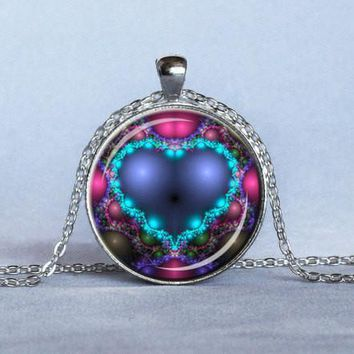 Valentine's Day VALENTINE DAY HEART Pendant Blue Sweetheart lace I