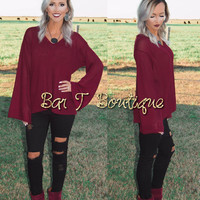Burgundy Bell Sleeve Sweater