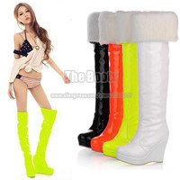 Winter Neon Yellow Orange Black White Patent Leather Platform Wedge Over-The-Knee Long High Heel Thigh High Snow Boots For Women