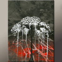 Abstract Landscape Art Painting on Canvas 18x24 Original Contemporary Modern Tree Paintings  by Destiny Womack - dWo - Falling Down