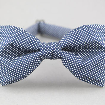 Blue Bow Tie for Men Dotted Bow Tie Mens Bow Tie Wedding Bow Tie Pre Tied Bow Tie Adjustable Bow Tie Gift for Men Groomsmen Bow Tie