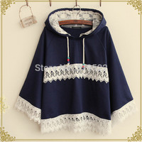 2 colors Mori girl long lace patchwork cute cartoon kawaii cape loose sweatshirt vintage hooded jacket sweatshirt-in Hoodies & Sweatshirts from Women's Clothing & Accessories on Aliexpress.com | Alibaba Group
