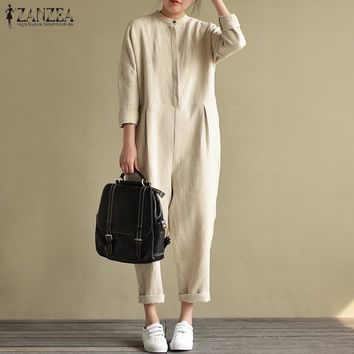 2018 Autumn ZANZEA Women Stand Collar Long Sleeve Pockets Jumpsuits Solid Cotton Linen Rompers Casual Loose Overalls Plus Size