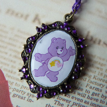 Best Friend Care Bear Purple Rainbow Necklace Kawaii TV - Purple Metallic Chain Short