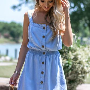 Button Up Elastic Waistband Denim Dress