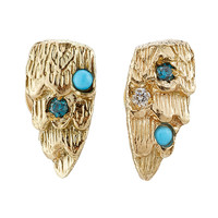 Carolina Bucci - Owls Wing 18k Gold Earrings with Turquoise and Diamonds