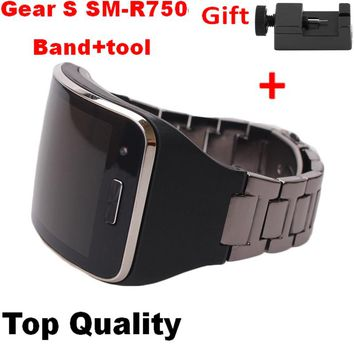 Djustable Metallic Replacement Strap For Samsung Gear S SM-R750 Wristband Fitness Bracelet Band For Samsung Steel Watchband R750