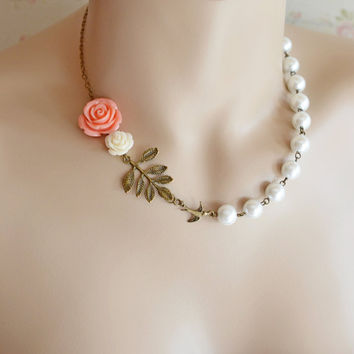 Coral Pink Necklace Pearl Bridesmaid Necklace,Coral Pink Ivory Wedding Jewelry,Leaf Necklace,Rose Flower Pearl Necklace,Statement Necklace