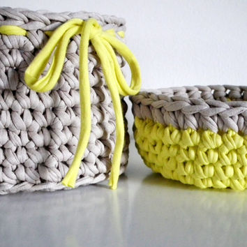 Crochet Basket and Bowl - Organizers Baskets- Crochet Gift Set - Housewares - Eco-friendly Decor
