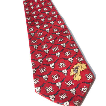 "BARRY WELLS Designer Tie,60"" x 3.5"",Vintage Silk Tie,Red Silk Tie,Italian Silk Tie,Longhorn Skull Tie,Made in USA,Quirky Tie,Unusual Necktie"