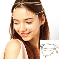 Fashion Women Leaf Pendant Crystal Headband Multilayer Gold Chain Hair Accessories Jewerly 2015 New Style Cheap-fine