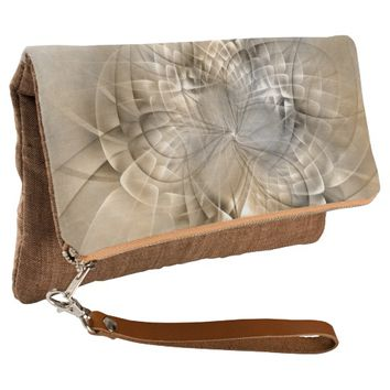 Earth Tones Abstract Modern Fractal Art Texture Clutch