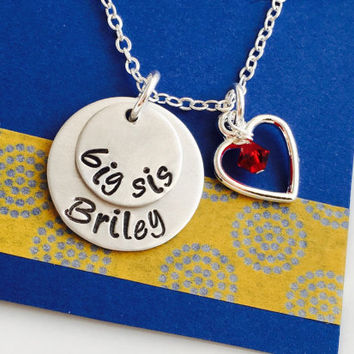 Big Sister Necklace, Big Sister Gift, Personalized Big Sister Necklace, lil sis necklace, Sibling Necklace, Sorority Sister