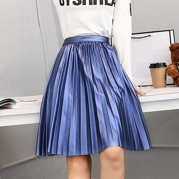 Uwback PU Leather Skirt Women 2017 New Pleated Skirts Woman Plus Size High Waist Blue/Silver Knee Length Skrit Mujer TB1285