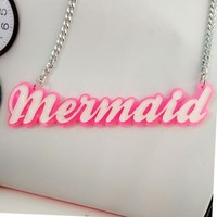 Womens New Pink/White Mermaid Acrylic Block Letter Alternative Chic Bib Pendant Necklace