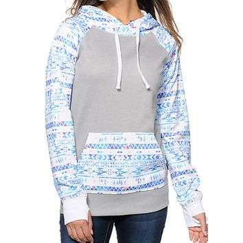 Print Cashmere Sweater Hoodie Shirt With Pocket