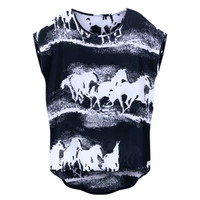 2017 Summer European American Fashion T-shirt Horses Printed Loose Tee Shirt Femme All-match Plus Size 5XL Camiseta Feminina