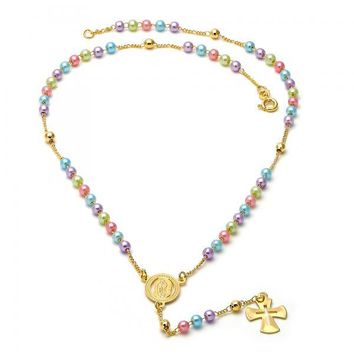 Gold Layered 09.02.0001.18 Thin Rosary, Guadalupe and Cross Design, with Multicolor Mother of Pearl, Polished Finish, Gold Tone