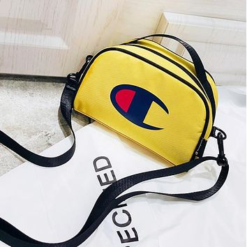 Champion Fashion New Logo Print Women Men Women Men Shoulder Bag Yellow