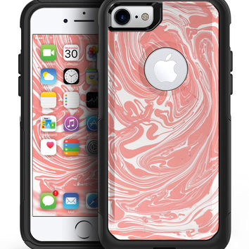 Marbleized Swirling Coral - iPhone 7 or 7 Plus Commuter Case Skin Kit