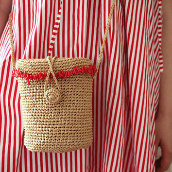 Crossbody bucket bag Round basket bag Raffia bag Summer bags Beaded bags Mini bucket bag Round bag