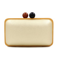 Fashion design pu leather stitching casual female clutch evening bag wood chain purse flap