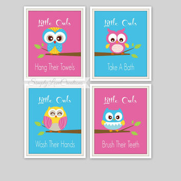 Owl Bathroom Art Prints - Set of 4 Prints - Little Owls Wash Their hands Print - Kids Bathroom Decor - Bathroom Decor - Baby Decor