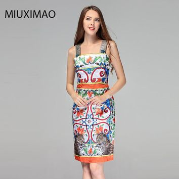 High Quality Spring&Summer Newest Cute Style Square Collar Sleeveless Leopard Print Diamonds Elegant Slim Dress Women