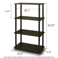 Furinno 99557EX/BK Turn-N-Tube 4-Tier Compact Multipurpose Shelf, Espresso/Black