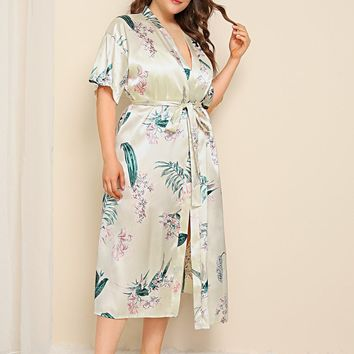 Plus Tropical Satin Robe With Belt