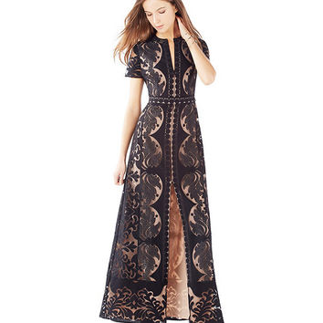 BCBGMAXARIA Cailean Short Sleeve Burnout Lace Gown | Dillards